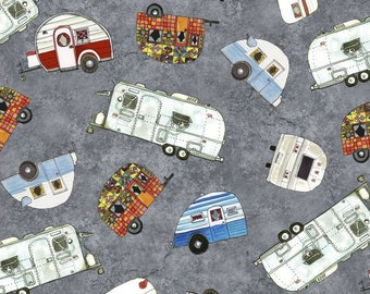 Gray Retro Camper Quilt Fabric, Travel Trailer, Glamping, RV, Maywood Studio Quilter's Road Trip, 9192 K, Kathy Deggendorfer, Cotton
