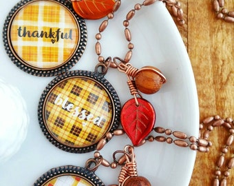 thankful grateful blessed one little word necklaces plaid