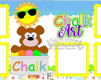 Scrapbook Page Kit Chalk Art Sidewalk Chalk Boy Girl 2 page Scrapbook Layout Kit 148