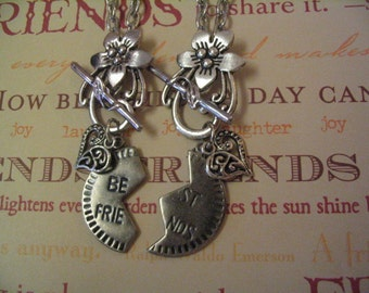 Best Friend Necklace Set with Heart Charm Flower Toggle Jewelry