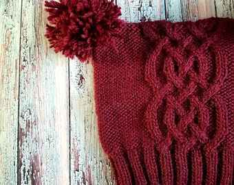 Wool Celtic Braid Cable Square Pompom Hat, Adult Size, Burgandy Wine