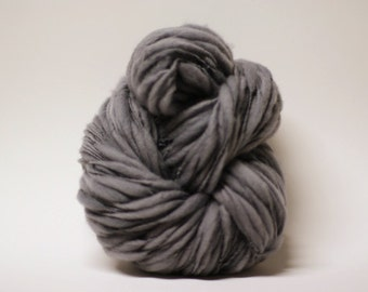 Merino Thick and Thin Yarn Bulky Hand Spun Wool Slub  Hand Dyed tts(tm) Grey 000x