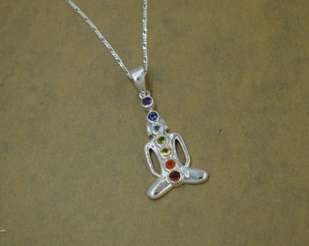 Sterling Silver Chakra Yoga Meditation Pendant with Chain