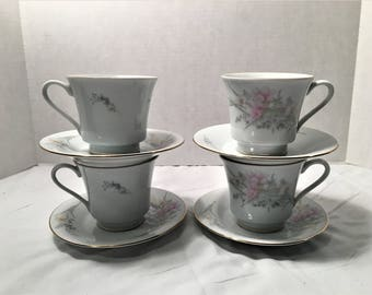 Vintage Jamestown China Set of 4 Coffee or Tea Cups and 4 Saucers Floral Pattern With Gold Trim  lot# 508