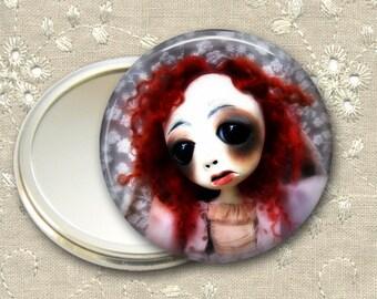 gothic doll pocket mirror,  original art  hand mirror, mirror for purse, bridesmaid gift, stocking stuffer MIR-AD39
