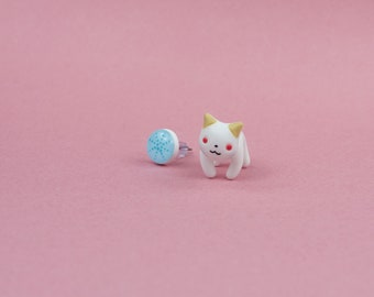 Cat earrings cat jewelry stud post kitty earrings fake gauge polymer clay kitty cat stud earrings pet animal wife gift cat lover gift kawaii