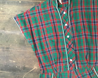1950s Tartan Cotton Shirtwaister Dress