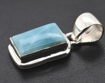 Natural Blue Larimar silver pendant necklace pendant gemstone jewelry blue larimar unique design sterling silver Pendant 3.75Gms#RA1609