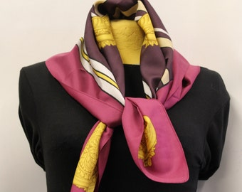 Purple and Gold Scarf Vintage / Vintage Scarf / 80's scarf / Golden scarf1