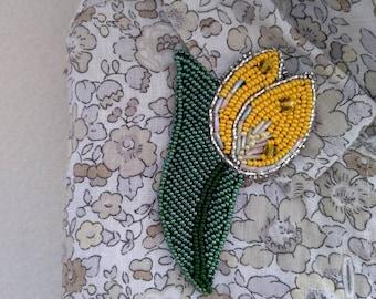 Brooch tulip, Brooch yellow, Brooch spring