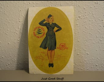 "New Vintage, Decal ~ Sticker ~ T.W.A Transcontinental Airline with the say  ""Lets Go! U.S.A. Keep'em Flying! With a Airline Stewardess"