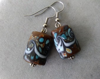 Brown, Blue, and White Lampwork Glass Earrings