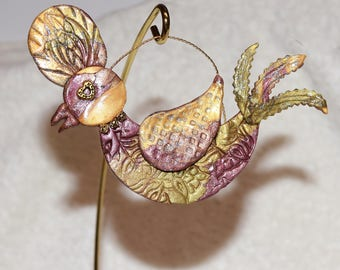 bird, decor, ornament, gold, one of a kind,birthday, unique, sparkle,clay, made by hand.holiday,childs room
