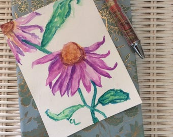 original watercolor panting, purple cornflower, small flower art, watercolor flowers, gift for her, bedroom wall decor
