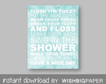 Family Rules Wall Art Print-Instant Download-Bathroom Art Prints.Bathroom Rules Decor.Bath Art.Wash Brush Flush.Modern Bathroom