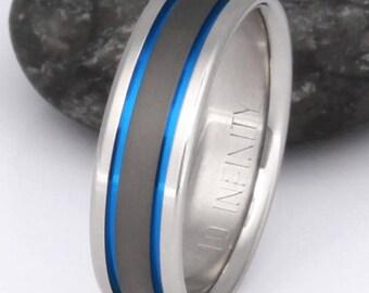 Blue Titanium Wedding Band - Thin Blue Line Ring - Exclusive Sable Finish Engagement Band - sa12