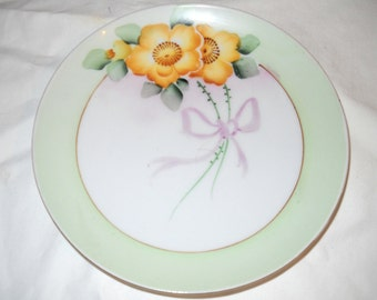 Antique Meito China, Japan, Hand Painted, JONROTH Studios, 6 Inch Diameter Bread Plate, Collectible, Porcelain, 1900's