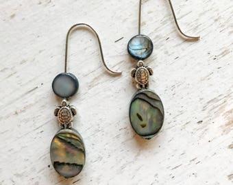 Beaded Turtle Silver Earrings