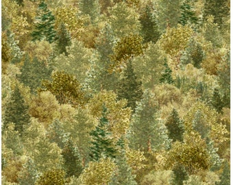 Whitetail Ridge Packed Trees in Green Fabric By Quilting Treasures 43.5 INCHES End Of Bolt Fabric