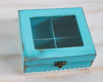 Blue Tea Wooden Box, Tea storage box, Tea Box, Tea Box Container, Shabby Chic tea box / storage box/, Jewelry box, Jewelry Organizer