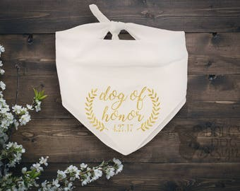 Dog of Honor Bandana with Custom Wedding Date White with Glitter Gold