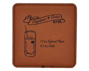 Rum and Coke - Captain and Coke Drink Coasters - Classic Mixed Drink Recipies - Choice of Coaster Color and Shape - 074