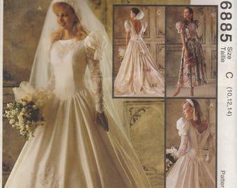 Low Back Wedding Dress Pattern McCalls 6885 Size 10 - 14 Uncut