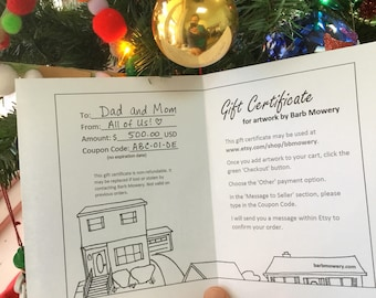 Gift Certificate printable PDF sent by email in any amount for purchase of artwork by Barb Mowery