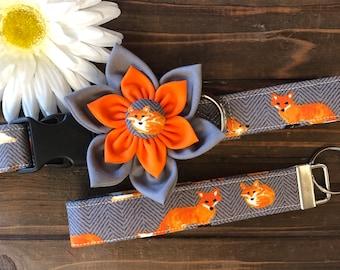 Dog collar, Fox dog collar, watercolor dog collar, orange fox dog collar, collar with flower, dog collar with flower, fox key fob, match my