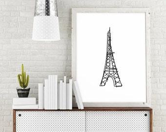 Eiffel Tower Decor, Paris Decor, Large Minimalist Poster, Paris Wall Art Print, Black and White Line Sketch, Printable Art, Digital Download