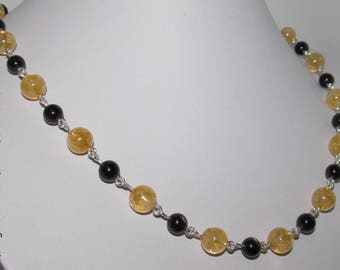 Handmade Citrine gold obsidian and 935 sterling silver necklace