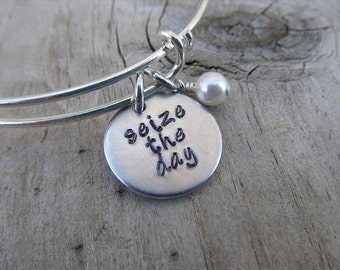 "Inspiration Bracelet- Hand-Stamped ""seize the day"" Bracelet with an accent bead in your choice of colors"