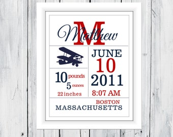 Birth Announcement Print - Vintage Plane Custom Colors