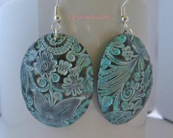 Floral Polymer Clay Earrings, Dangle Earrings, Antiqued earrings