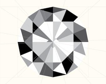 Diamond Paper Piecing Pattern - Round Cut - Gemstone Jewel Quilting Pattern