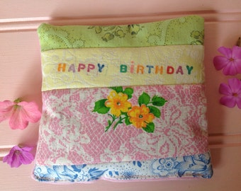 Happy Birthday lavender bag. Floral  vintage fabric patchwork. Ready to send.