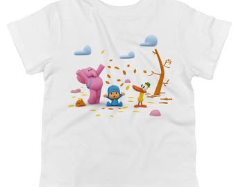 Pocoyo Elly And Pato Playing In Leaves Toddler 100% Cotton T-shirt
