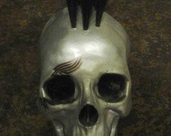 Chrome skull with mohawk