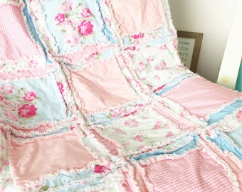 Floral Baby Rag Quilt for Girls Cottage Chic Nursery - Baby Pink / Light Blue Vintage Flowers