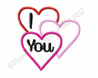 Valentines day embroidery design, valentines day applique design, heart applique valentines day design