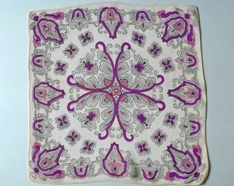 Handkerchief, vintage.   A Paisley based design in purple, pink & black on off-white pinky rayon.  c 1930's.