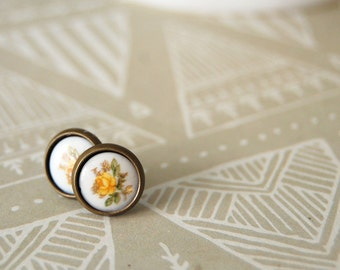 dainty framed vintage yellow rose post earrings - shabby chic