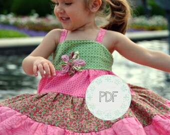 Sugar Baby Tiered Dress - Baby Toddler Girls PDF Dress Pattern Sizes 6-12 months, 18 months, 2, 3, 4, 5, 6