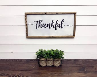 Thankful Sign Wood, Thankful Wooden Sign, Thankful Sign, Wood Thankful Sign, Fall Thankful Sign, Fall Wall Signs, Be Thankful Sign, 12x24