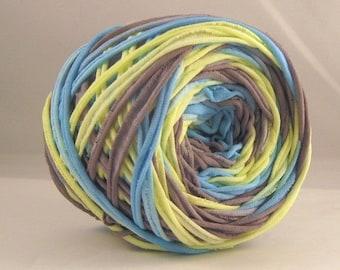 T-Shirt Yarn - Neon Yellow Gray Aqua- 60 yards-Chunky yarn- Hand Dyed Yarn - Recycled Yarn - Cotton Yarn - Fabric Yarn - Chunky Yarn