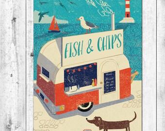 AHOY! Retro Fish and Chips Van Card