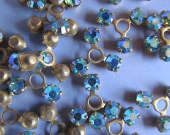 Vintage Swarovski Brass & Crystal Findings Elements (choose your colour) (12)
