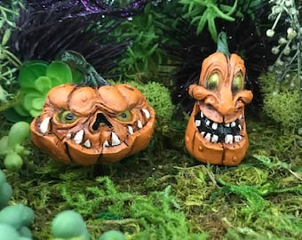 Miniature Halloween Pumpkin / Jack O' Lantern - Your choice of Scary or Silly!