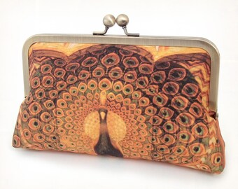 Clutch bag, silk purse, peacock wedding, gold, orange, brown, bridesmaid gift, PEACOCK PALACE