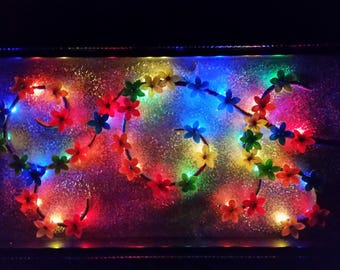 Rainbow Paper Flower Shadow Box with Lights